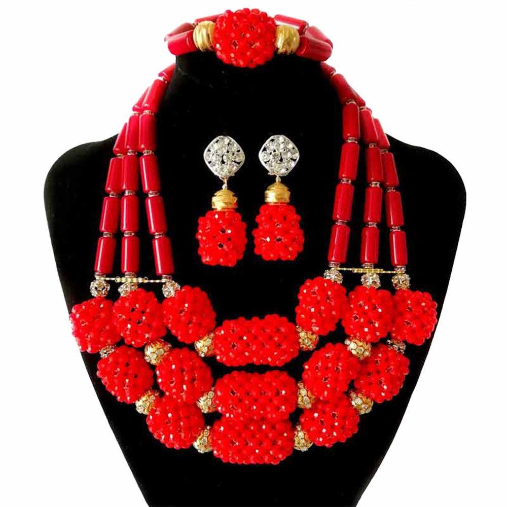 169f588294f0 Compre 3 Filas Granos De Cristal Rojo Conjuntos De Joyería Nupcial Regalo  De Boda De Moda Étnico Clásico Collar De Lujo Gargantilla Collar Pulsera  Aretes ...