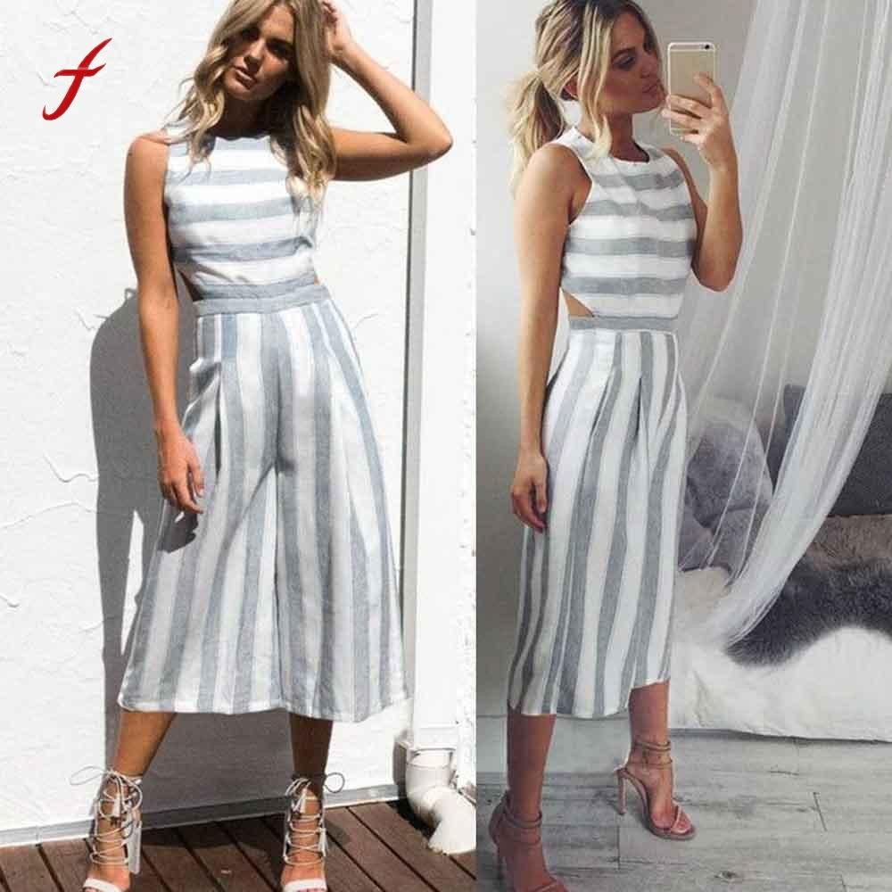 4c3630db38ad Fashion Women Sleeveless Striped Jumpsuit Casual Clubwear Wide Leg Pants  Outfit Rompers Womens Jumpsuit Macacao Feminino 2017 Y1891807 UK 2019 From  ...