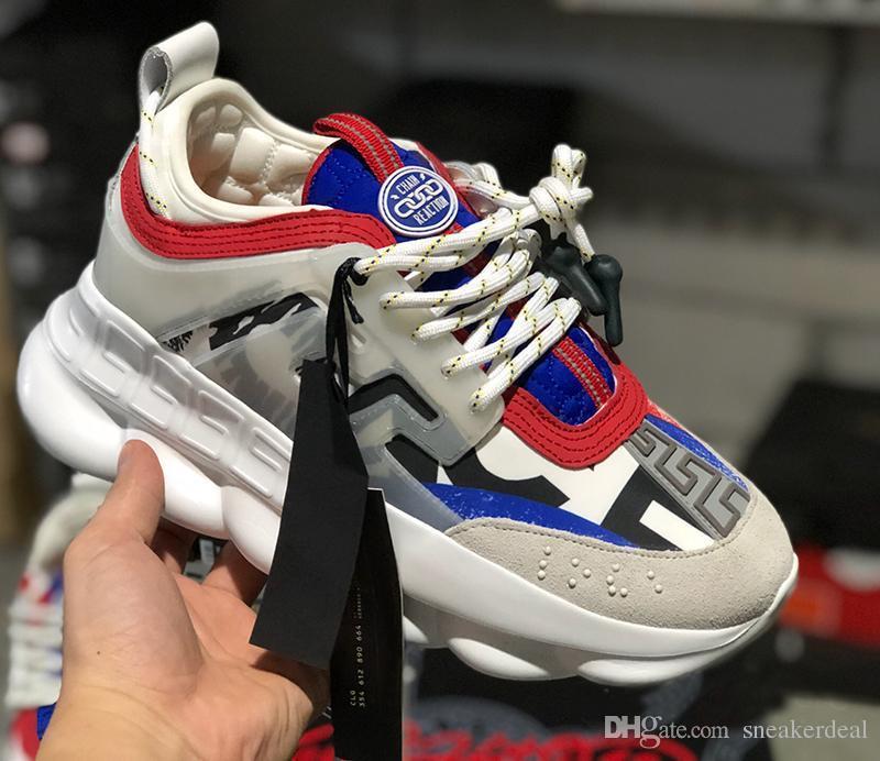 Réaction de chaîne Baskets de designer décontracté Sport Mode Casual Chaussures formateur Semelle légère à maillons en relief avec sac à poussière