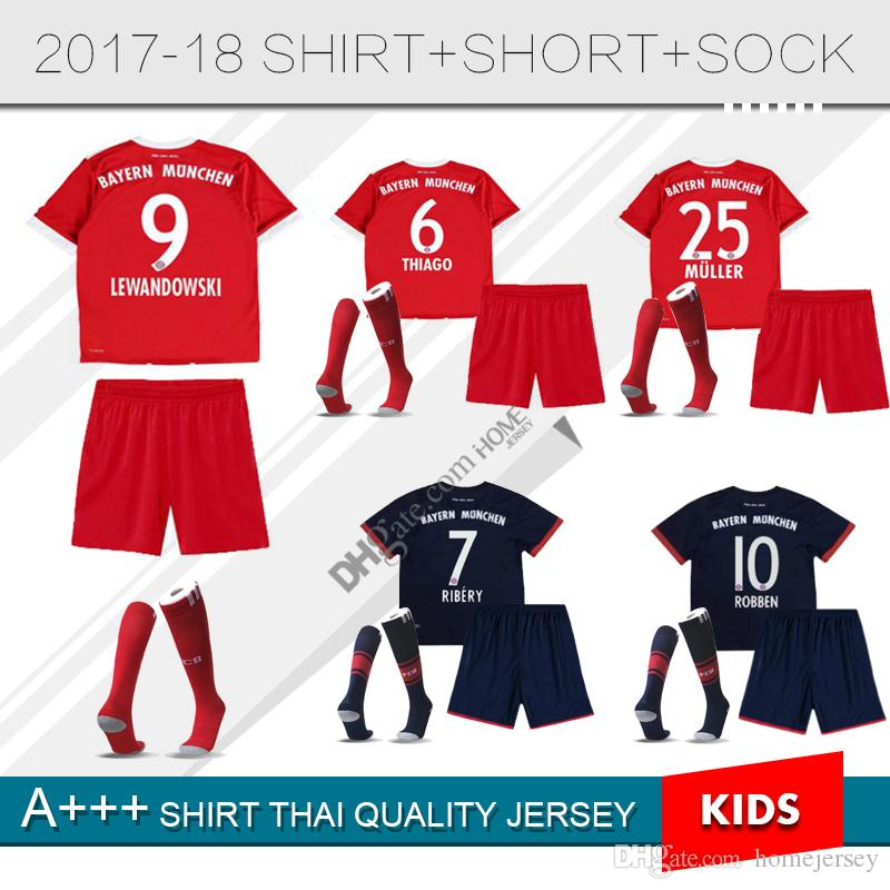kids kit child set lewandowski thiago home soccer jersey ribery muller robben gotze vidal football s