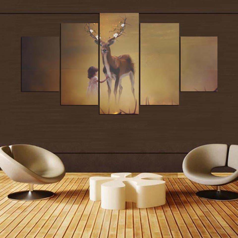 Decoration Posters Wall Artwork Pictures HD Printed 5 Panel Little Girl  Deer Modern Painting On Canvas Home Framework Living Room