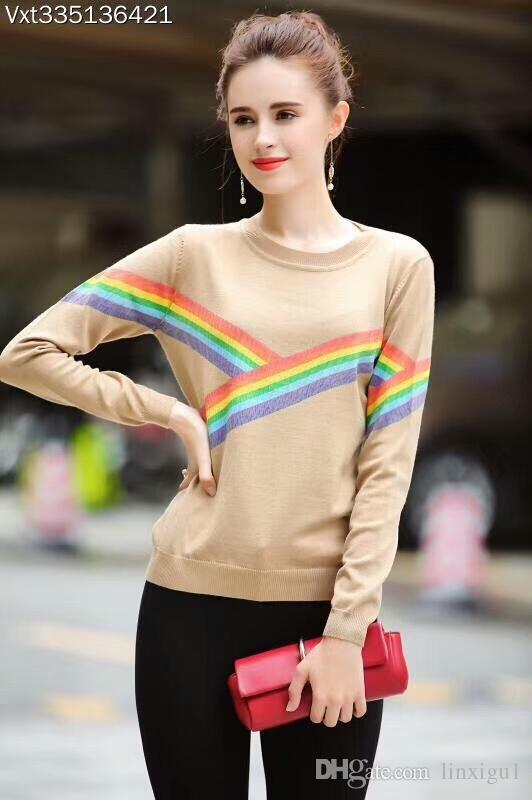 765d99b6a45 Women s Sweaters England Style High-end Wool Round Neck Rainbow Striped  Color Long-sleeved Pullover Shirt Sweater Female 2018 New England Style  Sweater ...