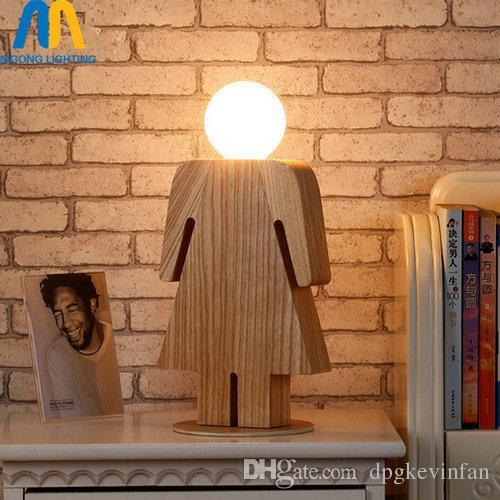 2018 Wood Boy Girl Table Lamp E27 Tafellamp Lampe De Chevet De