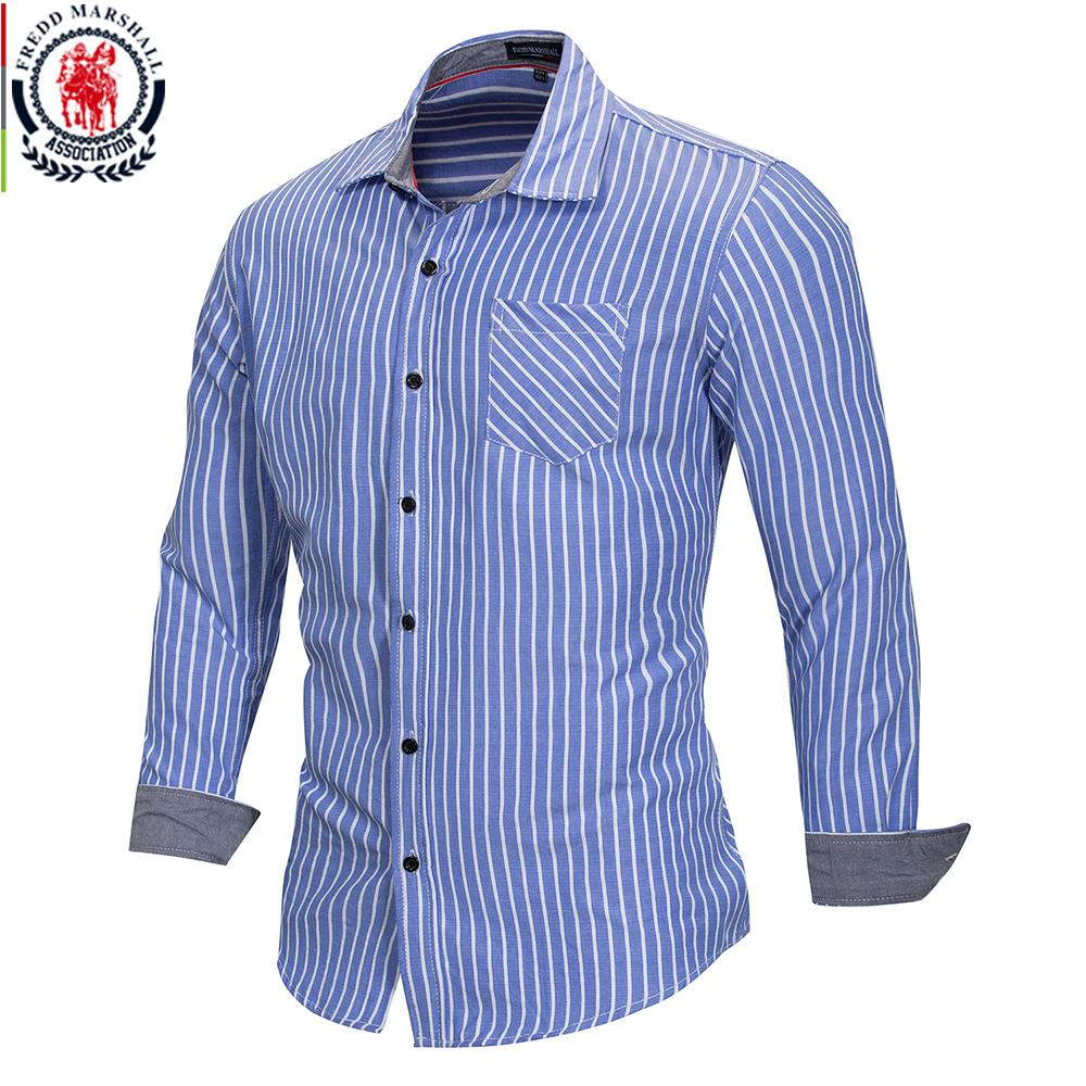 6109a7505dc 2019 FREDD MARSHALL 2018 Summer Fashion Striped Shirt Men Casual Long  Sleeved Social Business Dress Shirt Male Cotton Clothes FM166 From  Shoppingparty