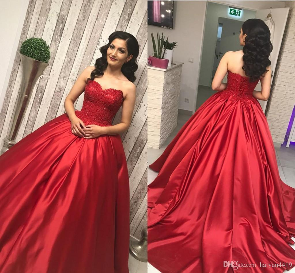 2019 New Red Quinceanera Kleider Schatz Spitze Appliques Perlen Satin Ballkleid Sweet 16 Puffy Korsett Plus Size Party Prom Abendkleider
