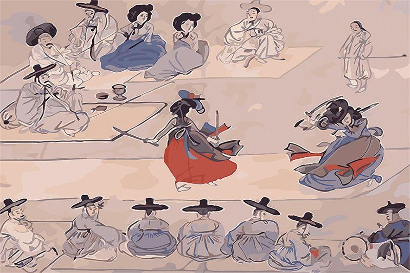 2018 Famous Korean Painting Sword Dance Art Giclee Canvas Print Art ...