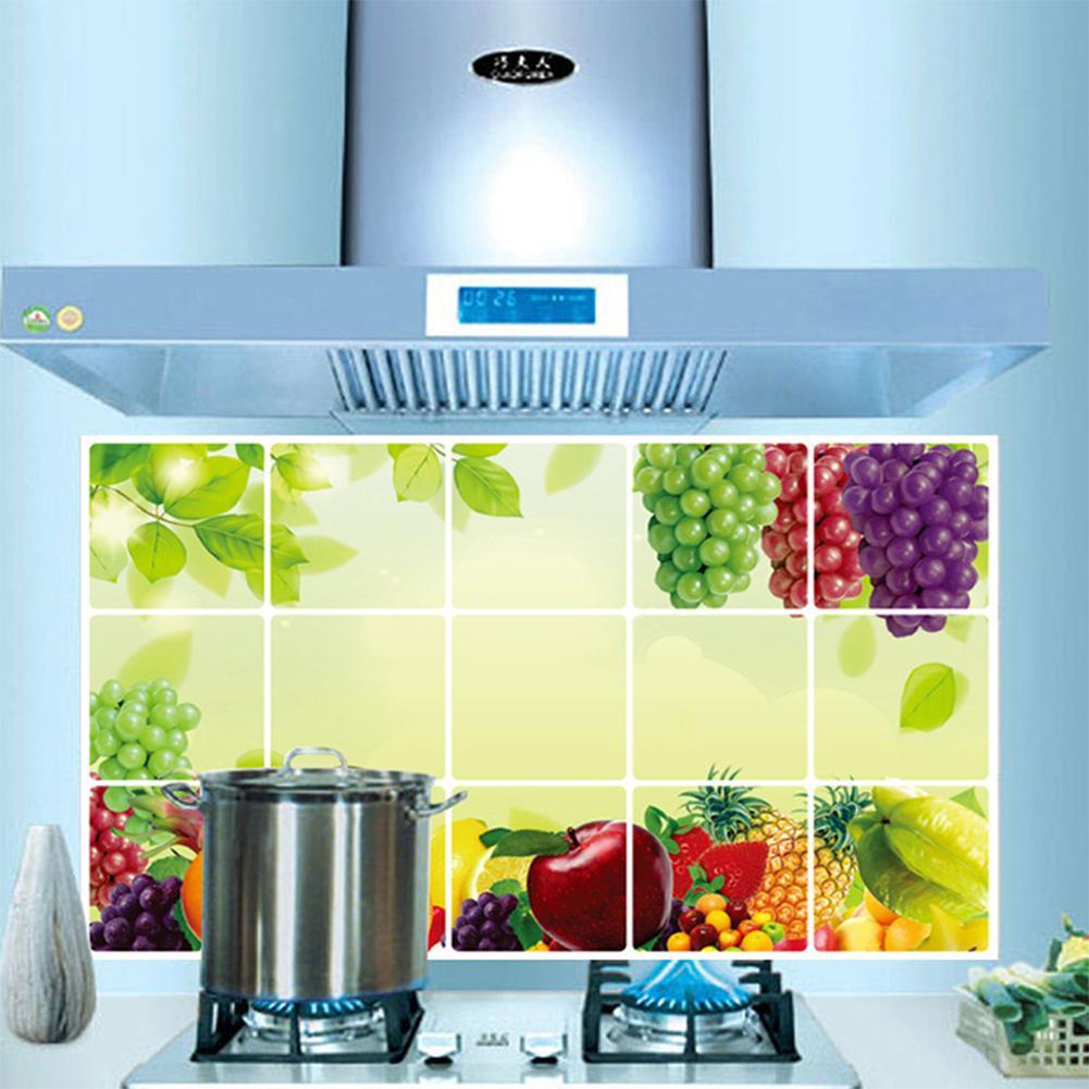 1 adet 45 * 75 CM Su Geçirmez Meyve Desen PVC Sticker Yağ Geçirmez Mutfak duvar çıkartmaları ev dekor ev dekorasyon