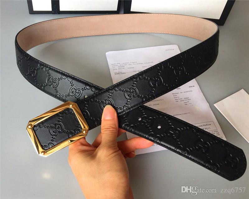 New fashion designer belt accessories men metal square simple buckle belt 3.8cm top quality with box