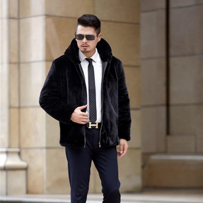 6XL giacche in pelliccia sintetica invernale di lusso 2017 uomini cappotto in pelliccia sintetica a maniche lunghe con cappuccio addensare cappotti oversize neri caldi uomo WR645