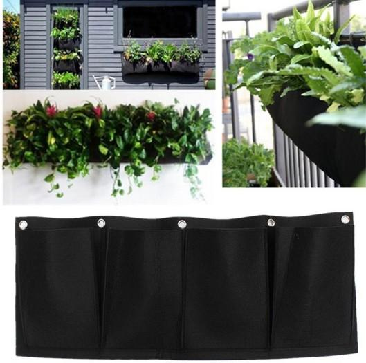 Low Price Outdoor Vertical Gardening Non Woven Hanging Wall Garden 4 Planting Bags Seedling Wall Planter Pocketgarden