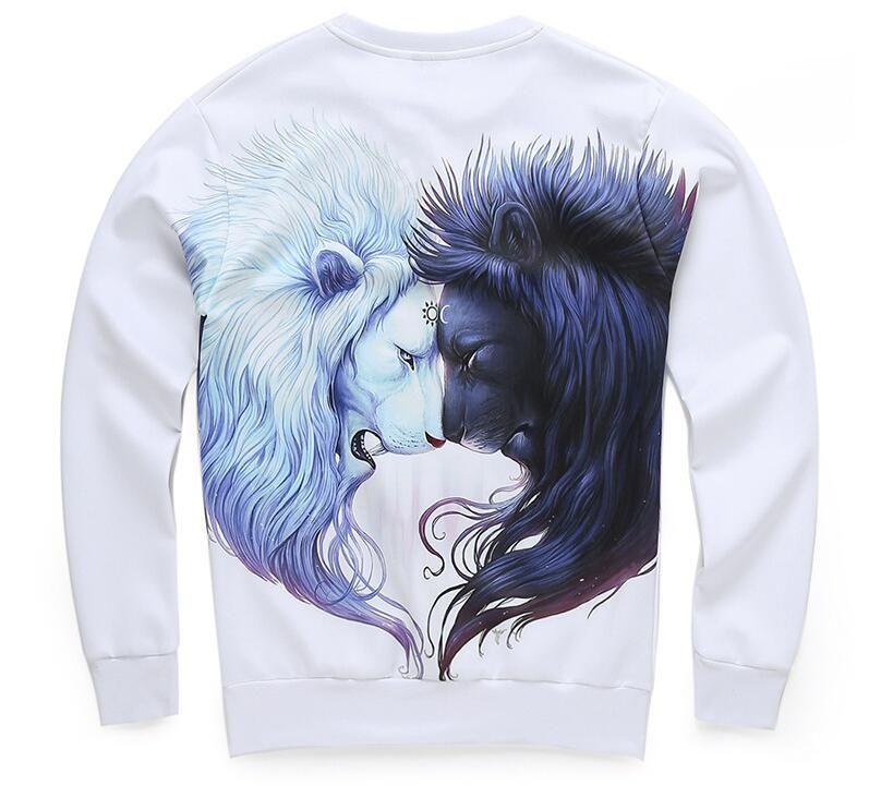 Explosion Models 2018 Spring And Autumn New Lovers Digital Double Lion 3D Printing Sweatshirt Tide Brand Men's Sweatshirt