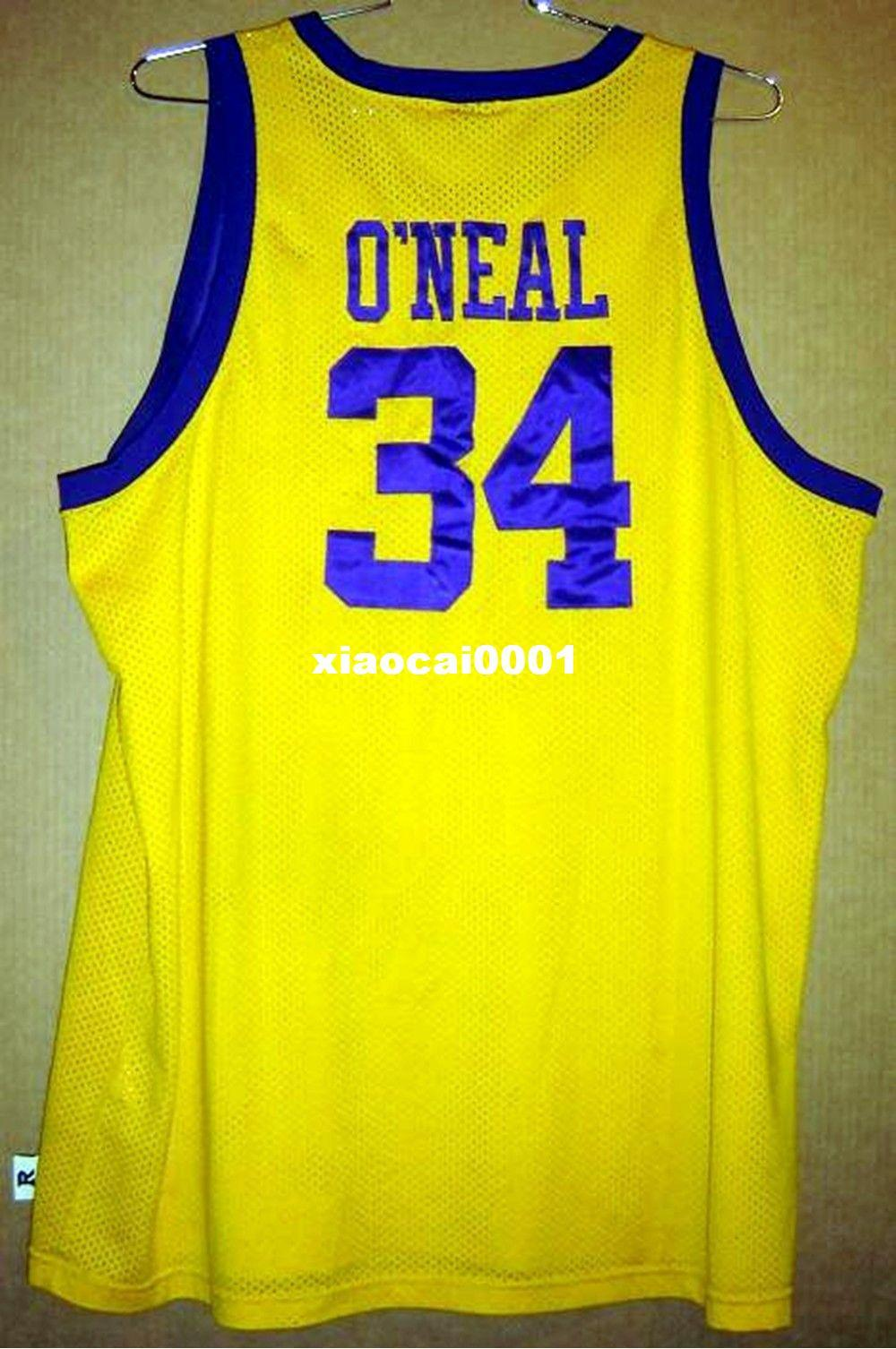 5d26477ce Cheap Custom Retro  34 SHAQUILLE ONEAL Gold Basketball JERSEY ...