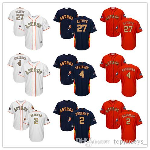 size 40 c86c3 1e785 Youth Majestic Astros Jersey #4 George Springer 27 Jose Altuve 2 Alex  Bregman White 2018 Gold Program Kids Boys Baseball Jerseys