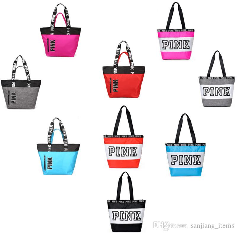 Online Cheap Pink Letter Women Shoulder Bags Handbag Gym Yoga Tote Bags  Nylon Waterproof Outdoor Travel Large Capacity Shopping Storage Bags By ... d29551aac3