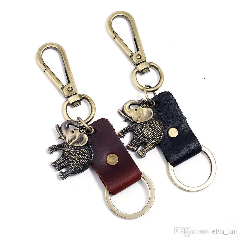 a44c01477f57 Elefante de cuero llavero venta por mayor para hombre para mujer coche  llavero anillos de piel de vaca suave suave clásico llaveros personalizados  de ...