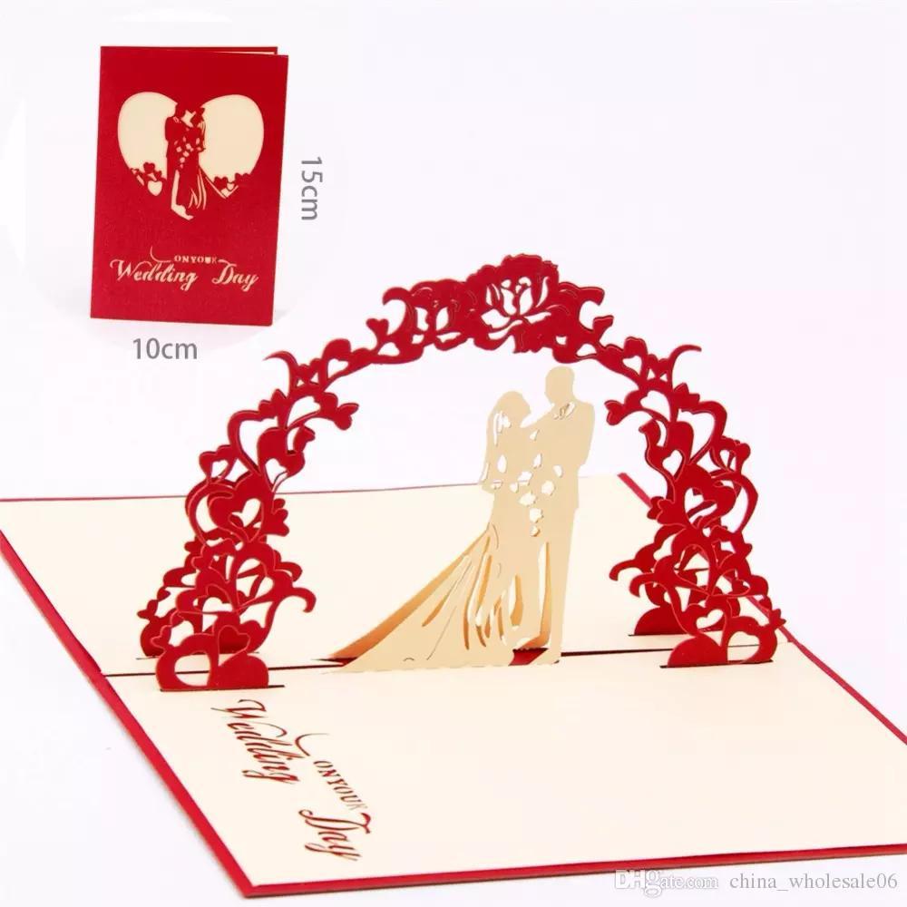 3D Pop Up Romantic Wedding Invitation Lover Valentines Day Postcards ...