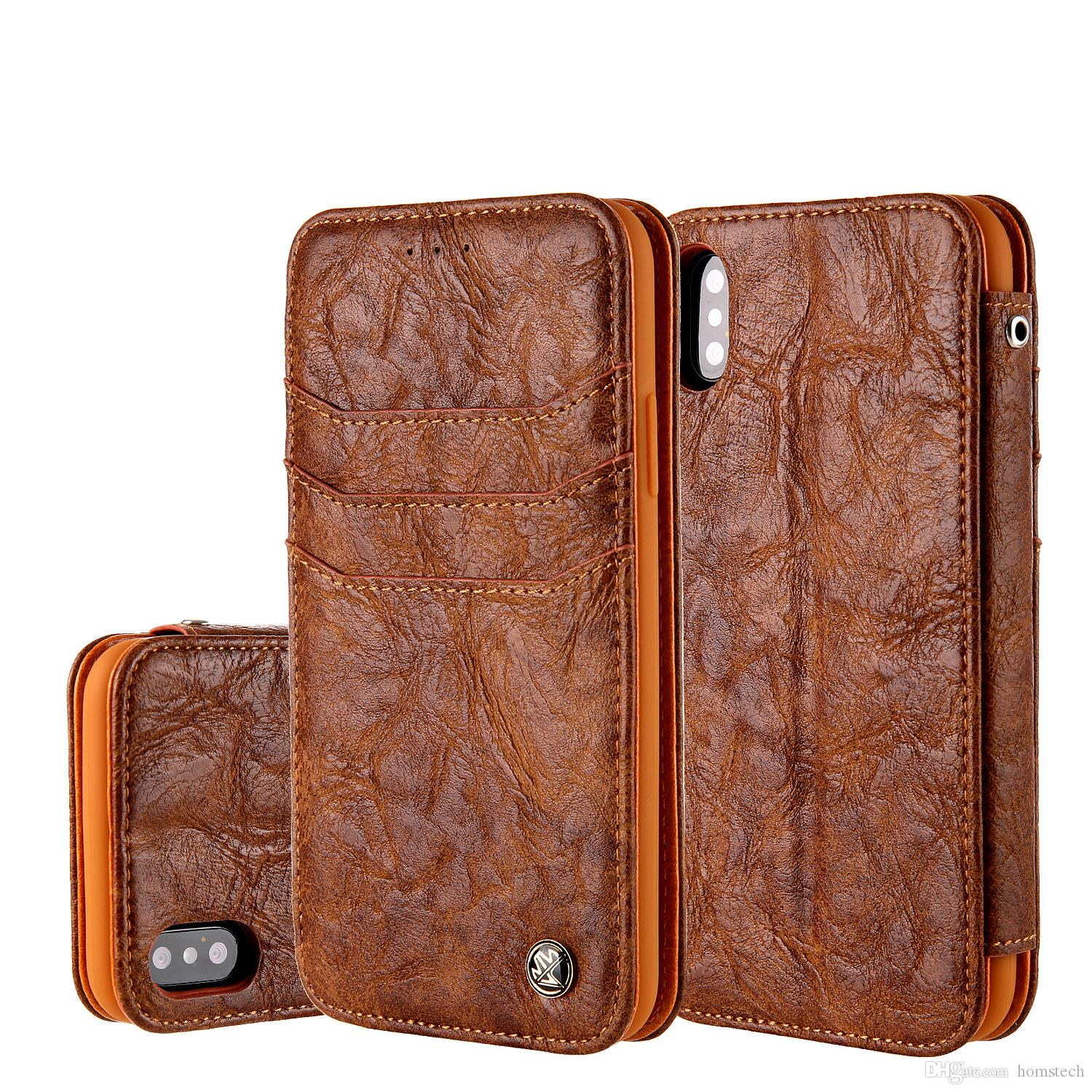 uk availability dd265 33da6 Retro Magnetic Matte Flip Leather Stent Wallet Cover Business Bracket  Holster Clutch Fundas for iPhone X 4.7 5.5 Samsung S8 S8+