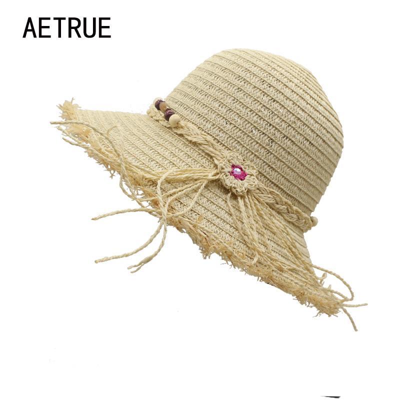65fd8b35 AETRUE Fashion Ladies Summer Hats Women Sun Hats For Women Floppy Straw  Beach Visors Panama Floppy Girl Cap Casual Beach Sun Hat Visor Hats Boater  Hat From ...