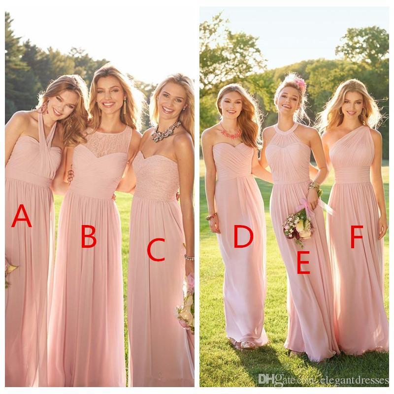 2019 Barato rosa plisado largo de encaje de gasa vestidos de dama de honor estilo mixto Blush dama de honor formal de Maid Ruffles ropa personalizada