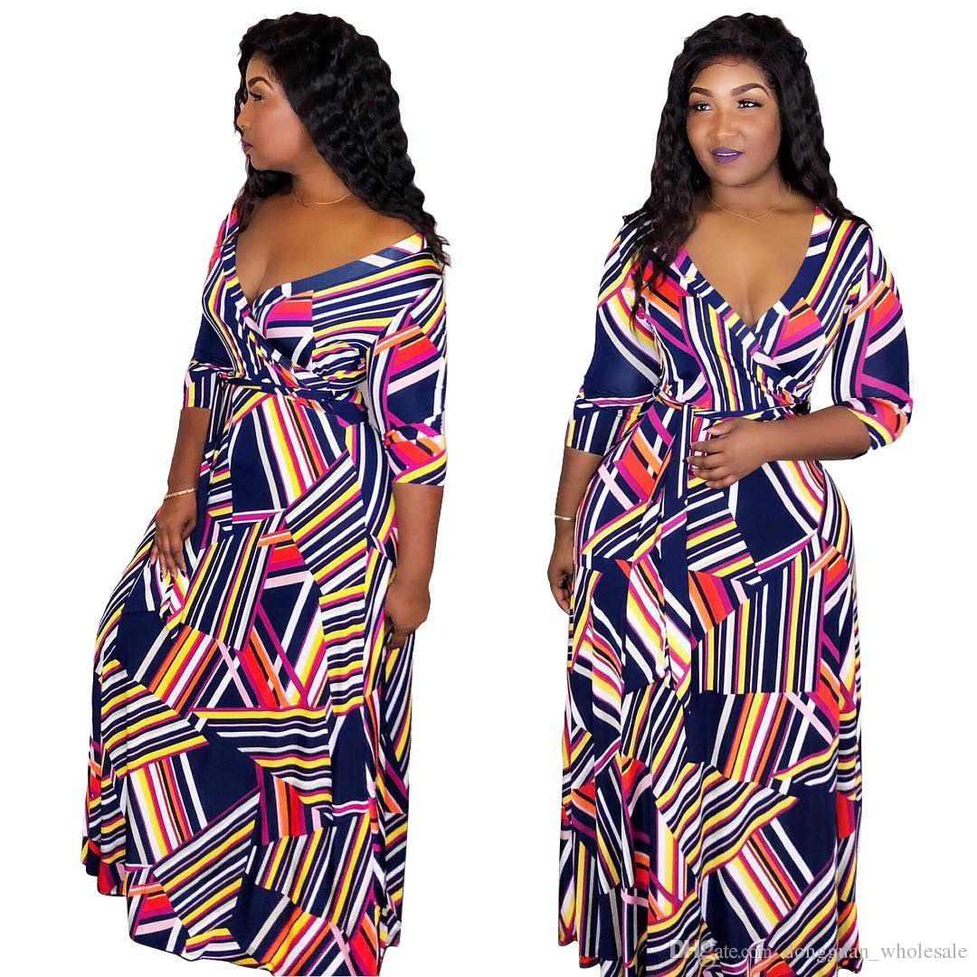 d5dd8ae7026 Compre Ropa Africana Nuevas Mujeres Moda Verano Vestido De Manga Corta  Casual Escote En V Profundo Vestido De Fiesta Estampado Africano  Tradicional A  18.99 ...