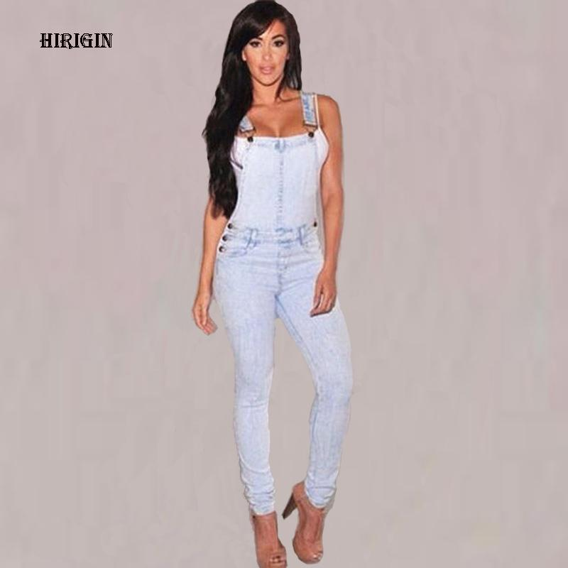 a82406038bc 2019 HIRIGIN Womens Jumpsuit Washed Jeans Denim Overalls Summer Sexy Strap  Hole Ripped Rompers Casual Playsuit Jeans Coverall From Buttonline