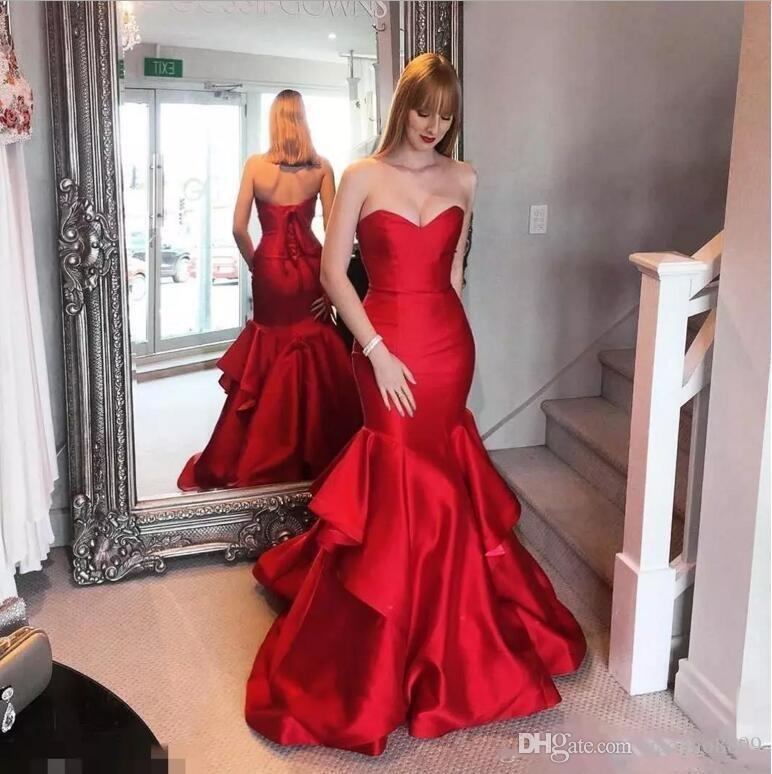 2019 Hot Sell Mermaid Prom Dresses Long Sweetheart Corset Back Formal Dresses Evening Party Pageant Gowns Floor Length