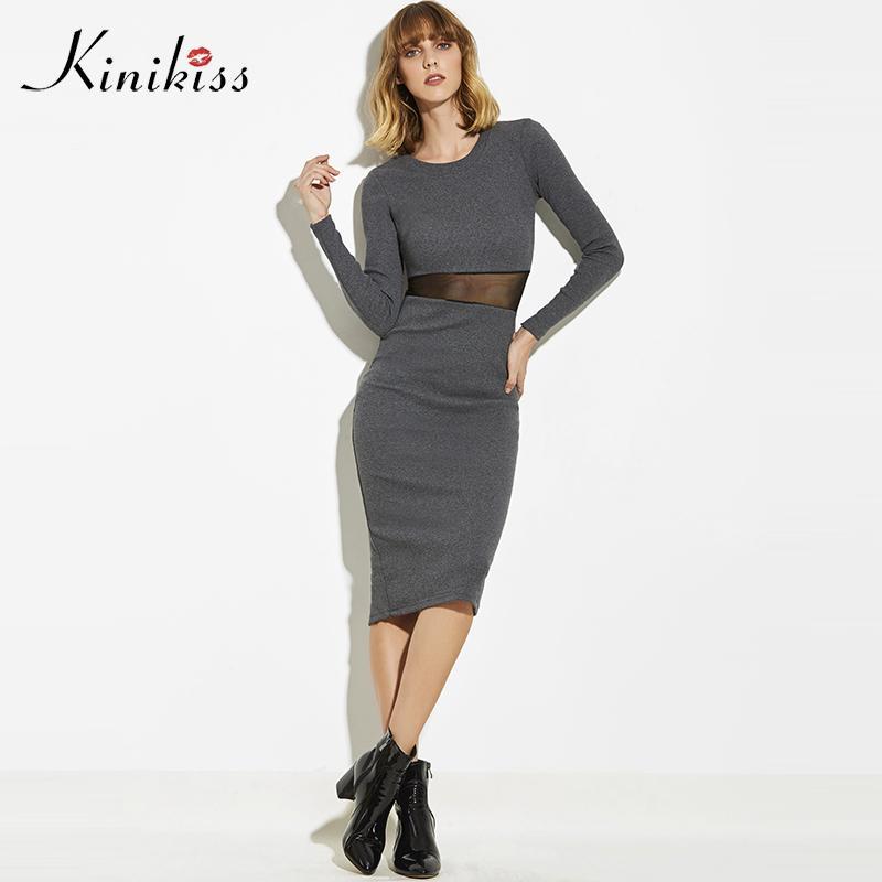Grosshandel Kinikiss 2018 Sexy Frauen Kleid Schlank Bodycon