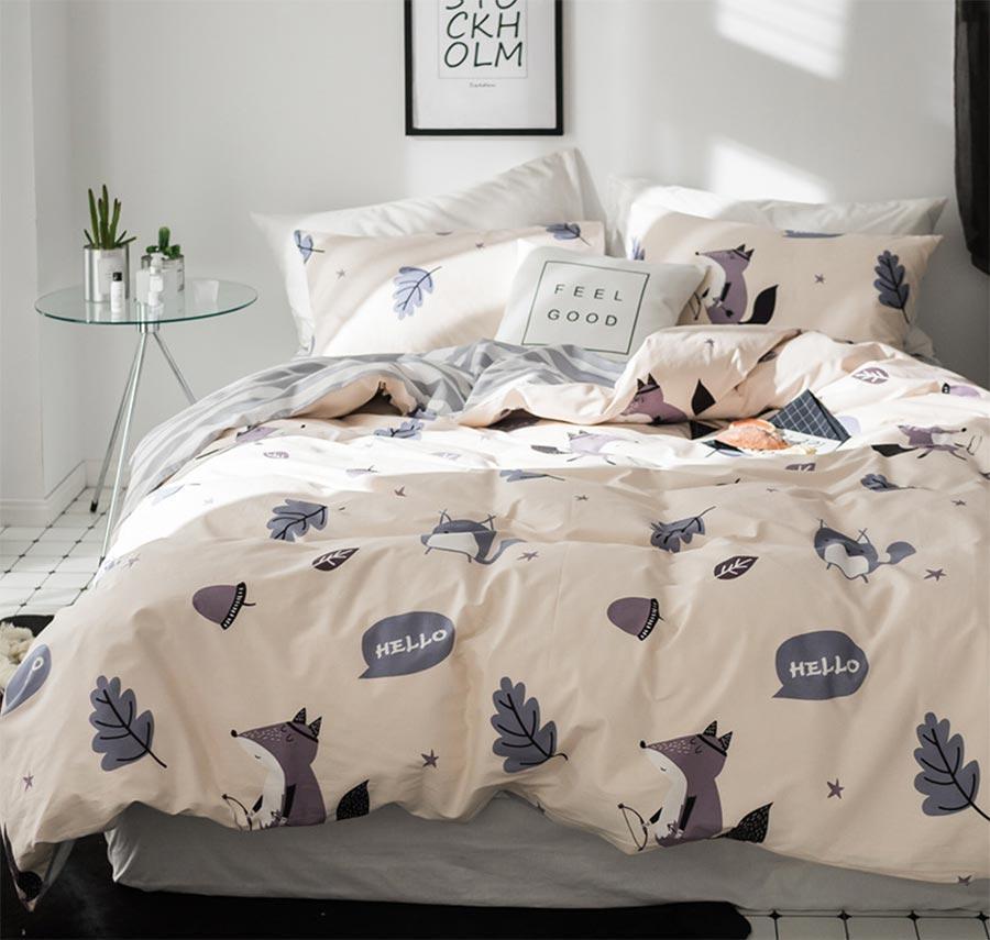Cartoon Fox Single Double Bedding Set Teen Kid,Twin Full Queen King Coon  Character Bedclothes Pillow Case Bedsheet Quilt Cover Blue Duvet Cover King  Cheap ...