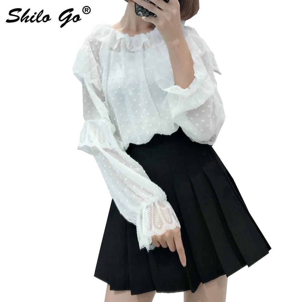 d5b55b48f6d7c1 2019 Elegant Ruffles Women Blouse Dot Fashion Lantern Sleeve Blouse Shirt  2018 Autumn Chic White Coffion Female Blusas From Cactuse