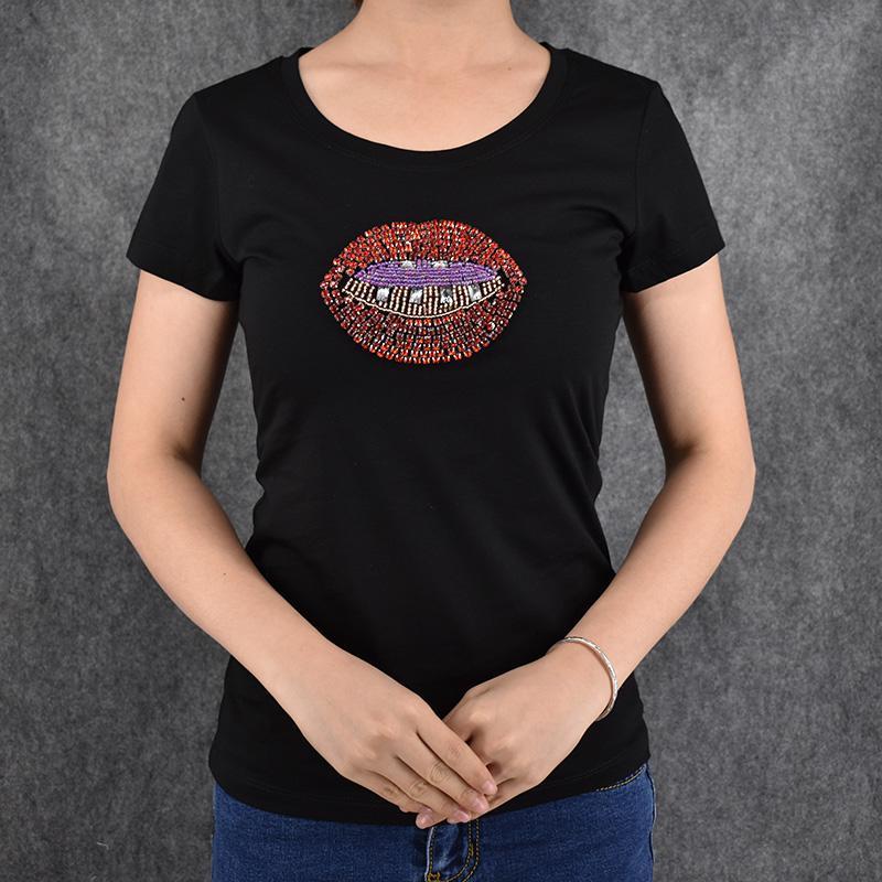 82d81ba6 Camiseta de mujer Camiseta de mujer 2016 Verano de manga corta Lycra  Rebordear Sexy Estampado de labios Camisetas Mujer Camiseta Señoras Tops  Venta ...
