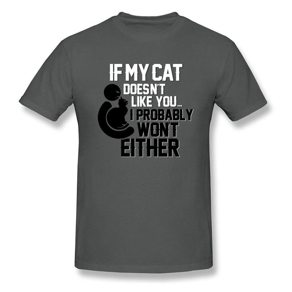 Compre Confío En Mi Gato Camiseta Divertida Camiseta Para Hombre Carta  Imprimir Tops Algodón Camisetas Manga Corta De Verano Ropa Adulta Simple  Azul A ... db53df0513f