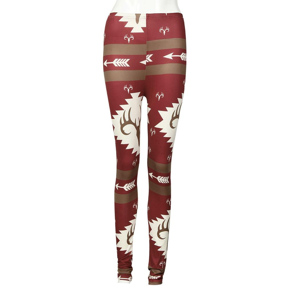 Pantalones de mujer Calcetines de invierno Cálido Lápiz Mujer Elástico rojo Flaco Impreso Pantalones elásticos Pantalones de moda de mujer capris #y