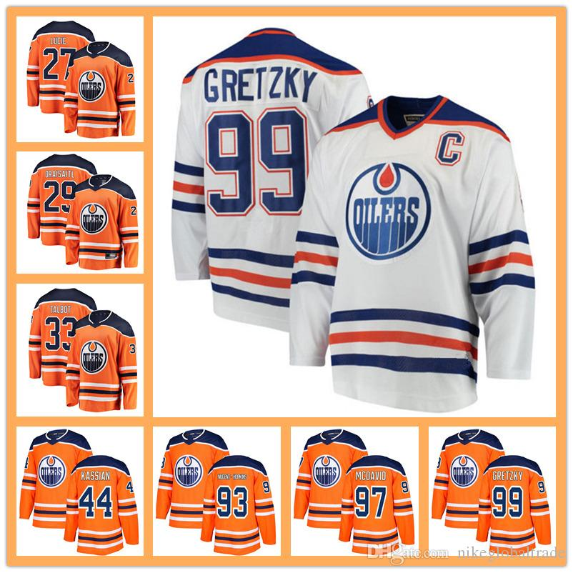 the best attitude b6e58 7d587 2018 Edmonton Oiler jersey 97 jersey 99 Wayne Gretzky 29 Leon Draisaitl 27  Milan Lucic 93 Ryan Nugent-Hopkins Stitched cheap Hockey Jerseys