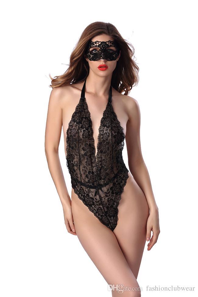 Sommer Stil Frauen Sexy Dessous Nachtwäsche Low Cut Backless Teddies Unterwäsche Stickerei Spitze Nachtwäsche Combinaison Femme S-2XL
