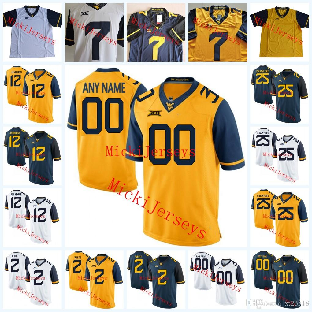 2019 Men NCAA Custom West Virginia Mountaineers College Football Jerseys  Kyle Bosch Gary Jennings Kenny Robinson Justin Crawford WVU Jersey S 3X  From ... b1ebf7650