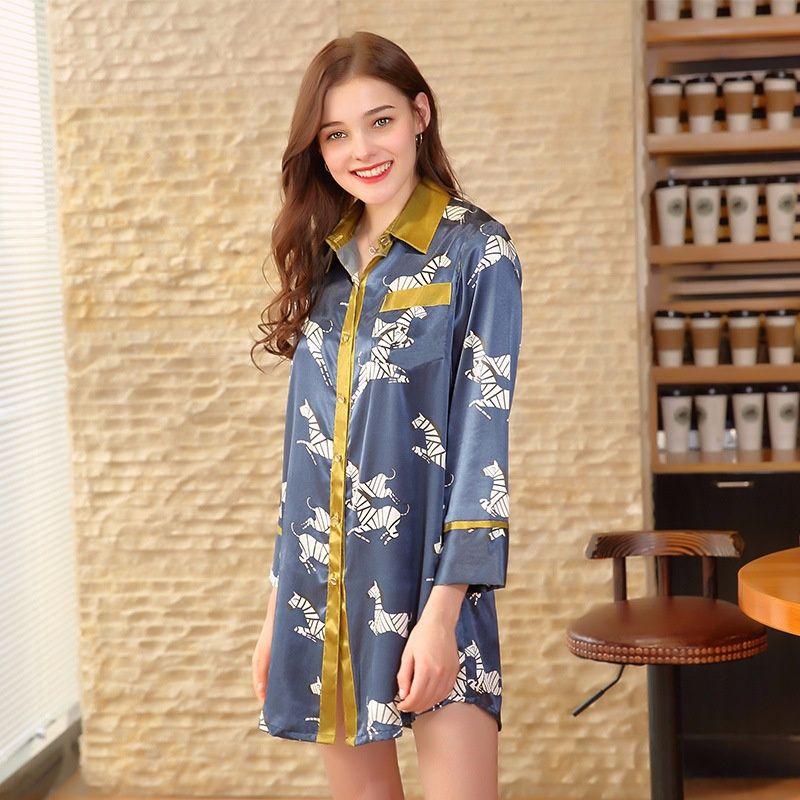 9989320a15 Embroidered Silk Ladies Sexy Lingerie Summer Silk Shirt Feminine Pajamas  Tracksuit