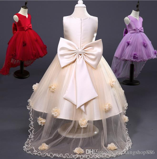 Flower Girl Dresses Floral appliques Lace Party Prom Long Tail Dresses Kids Ball Gowns First Communion Dresses for Weddings