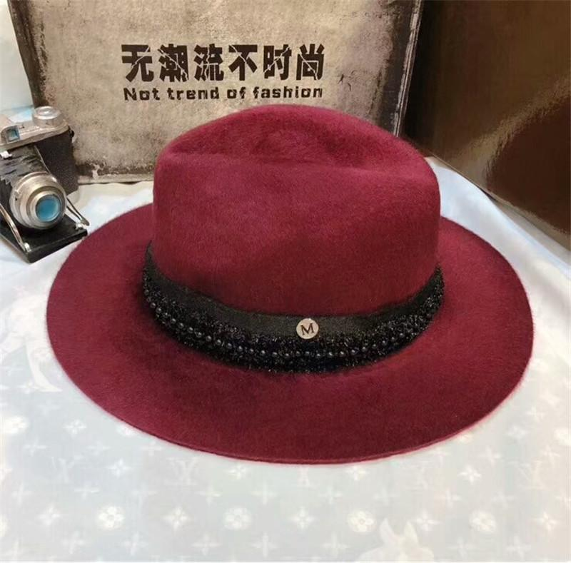 c3aa83bc919 2018 New Women Cashmere Hat Luxury Brand Jazz Top Hats with Lace ...