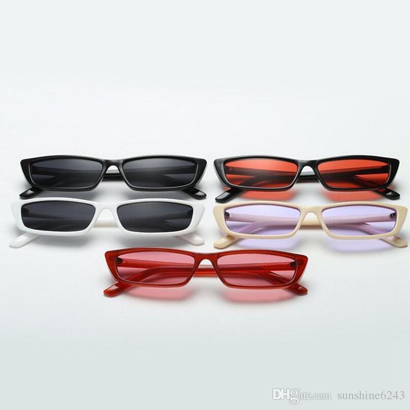 Yeni Vintage Dikdörtgen Güneş Kadınlar Marka Tasarımcısı Küçük Çerçeve Güneş Gözlükleri Retro Siyah Gözlük ücretsiz kargo