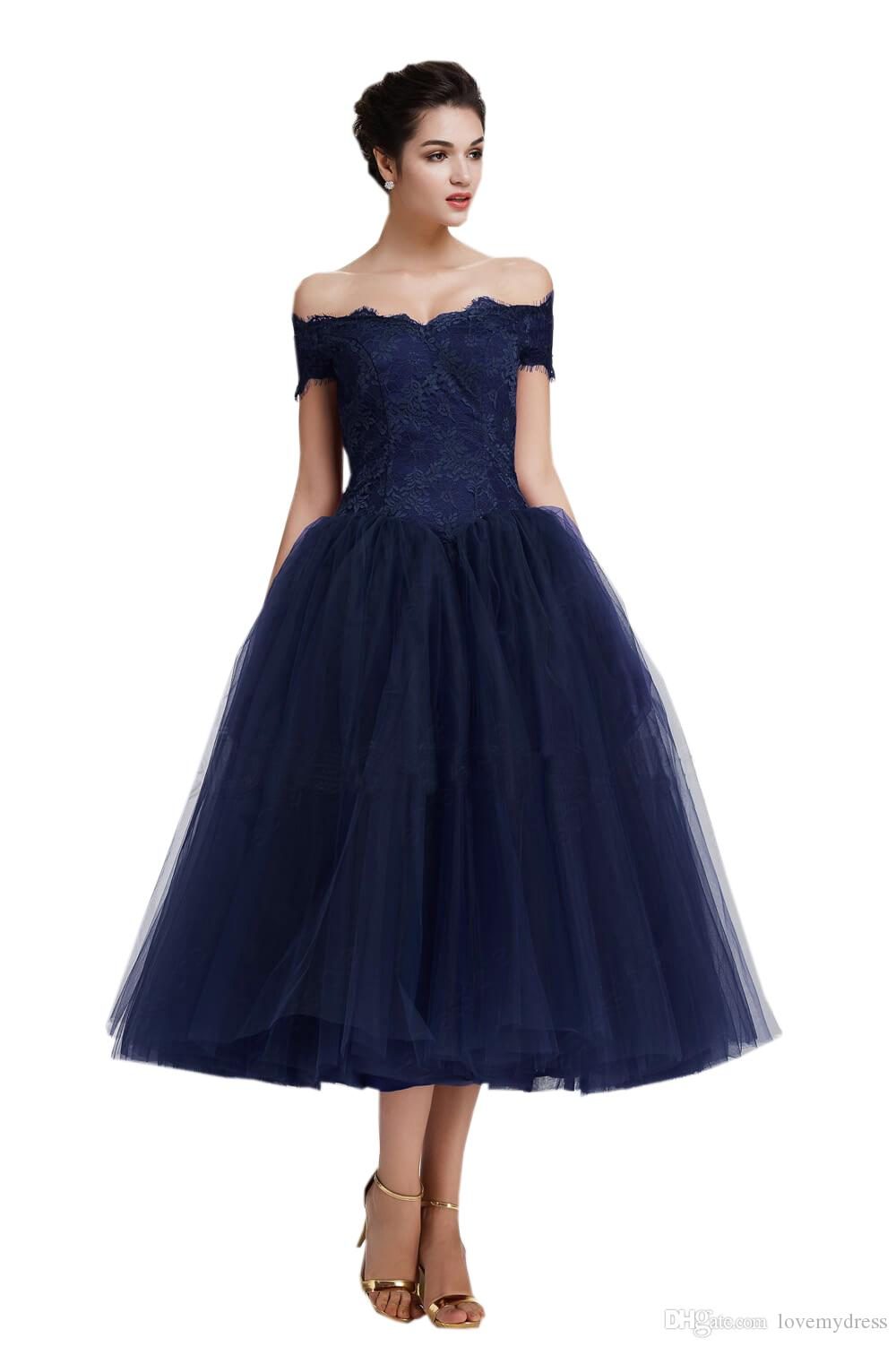 Short Cheap Evening Formal Gowns With Sleeves A line Tulle Lace Off shoulders Zipper Back Homecoming Prom Dress Graduation Gowns For Girls