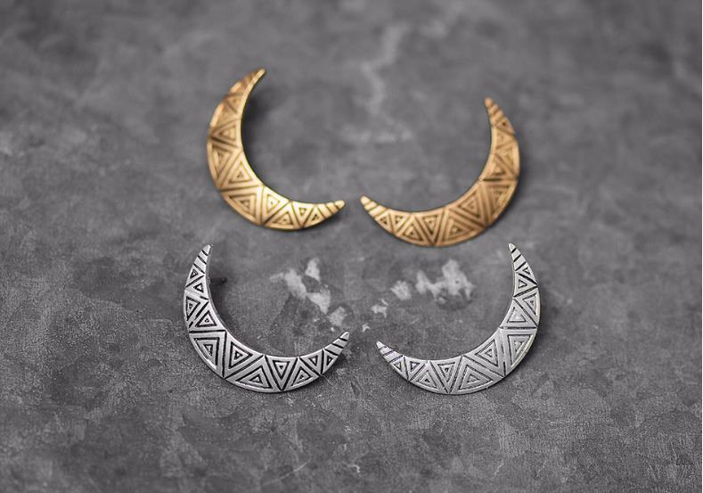 Europe America Retro Simple National Style Moon Stud Earrings Original Design Beautiful Patterns Women Sterling Silver Gold Plated Jewelry