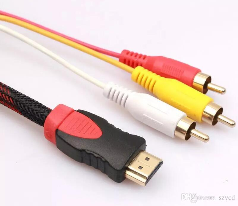 5Ft 1.5m HDMI To 3 RCA Video Audio AV Component Converter Adapter Cable For HDTV TV