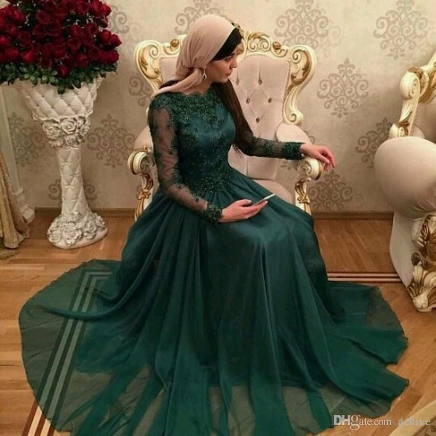 Hunter Green Muslim Evening Dresses With Long Sleeves Lace Applique Arabic Prom Gowns Long Chiffon Formal Party Dresses Custom Made USA UK