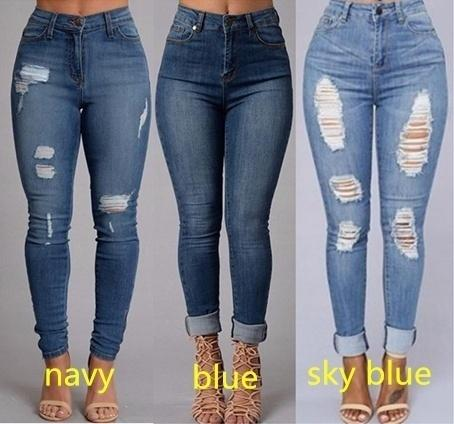 5751788cb Compre Moda Mujer Sexy Cintura Alta Lápiz Jeans Casual Azul Rasgado  Pantalones De Mezclilla Lady Long Skinny Slim Maxi Jeans Pantalones A   20.11 Del Fitchhh ...