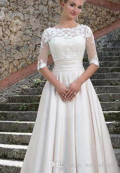 2019 Sincerity Bridal Wedding Dresses with Detachable Jacket Elegant A Line Bridal Gowns Lace Satin Vestido De Noiva Custom Made E41