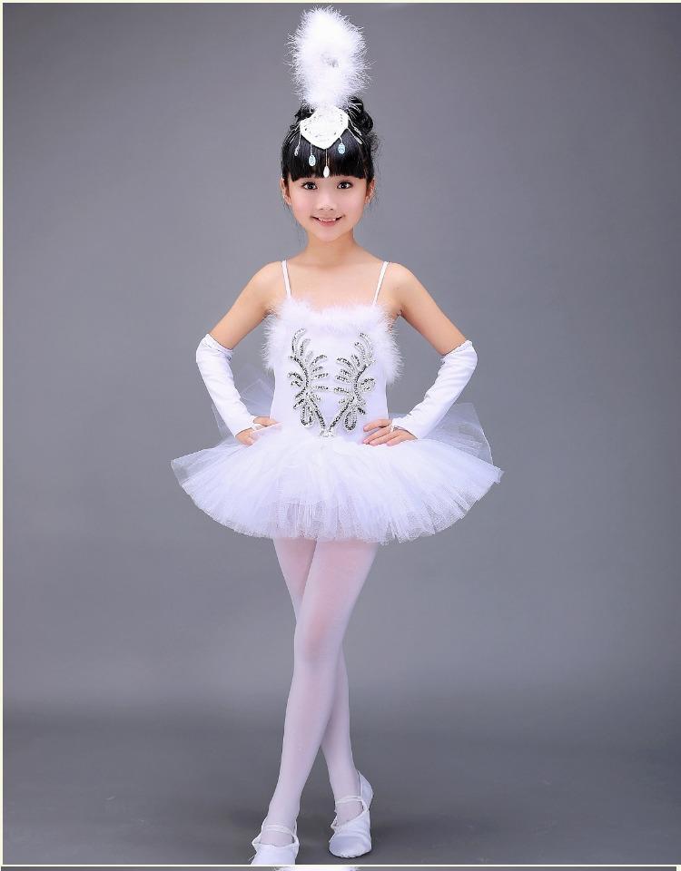444ebaf849 Compre Branco O Lago Dos Cisnes Traje De Balé De Verão Tutu Ginástica  Collant Bailarina Roupas Crianças Show De Palco Ballet Vestido Para Meninas  Crianças ...
