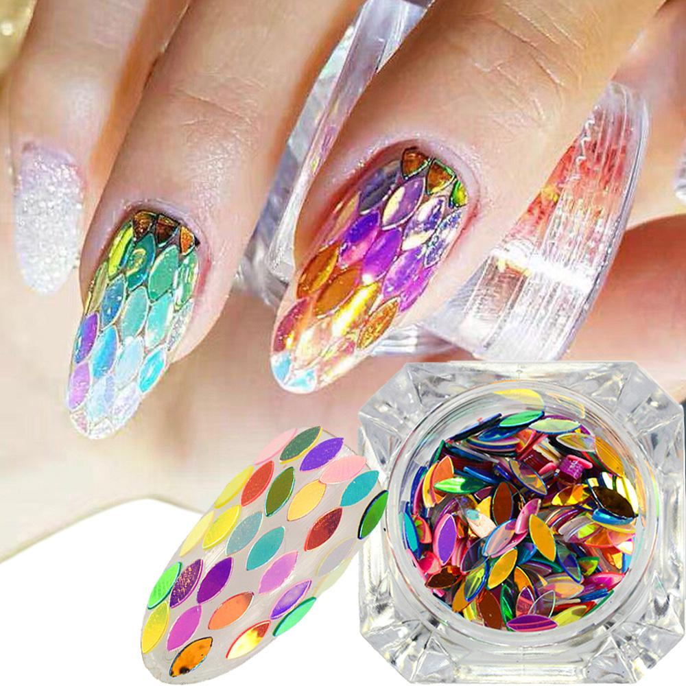 1 Box Mixed Colors Horse Eye Leaf Sheets Tips 3d Glitter Sequin Nail
