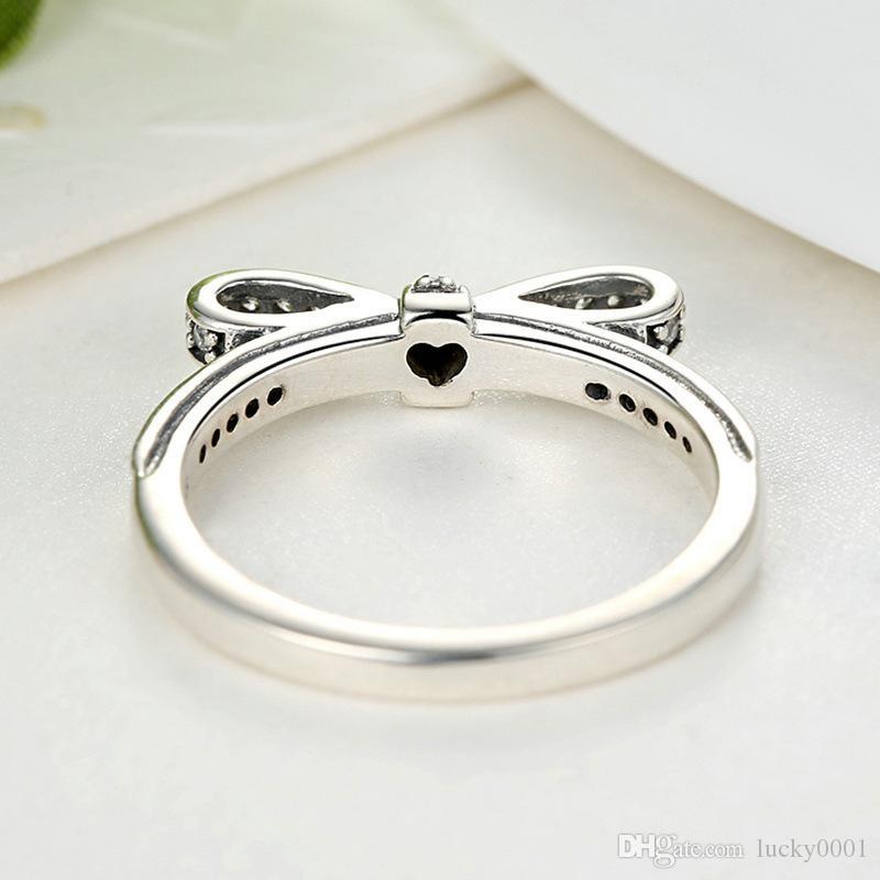 Anello impilabile 925 sterling silver nodo nodo impilabile Micro Pave CZ le donne gioielli regalo di San Valentino