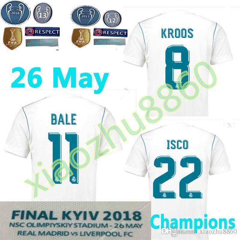 2017 2018 Champions League Finals Soccer Jersey 17 18 Real Madrid Casa  Blanco Ronaldo Bale Camisetas De Fútbol Para El 26 De Mayo Uniforme De  Fútbol ISCO ... 293d5ef8f02ac