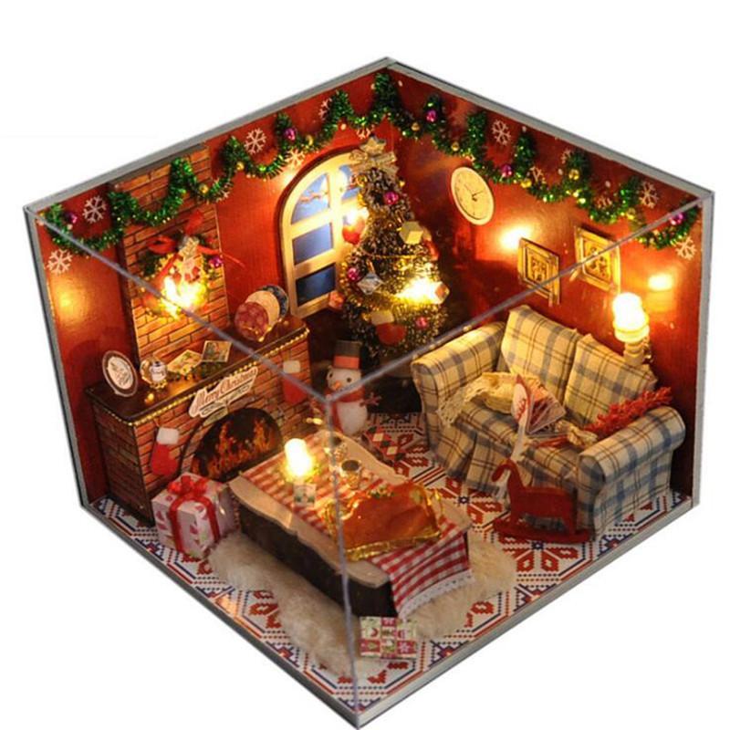 Großhandel Diy Miniaturen Puppenhaus Holz Weihnachtszimmer Kinder ...